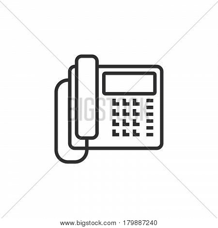 Office phone line icon telephone outline vector logo illustration linear pictogram isolated on white