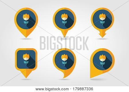 Flower flat vector pin map icon. Map pointer. Map markers. Garden eps 10