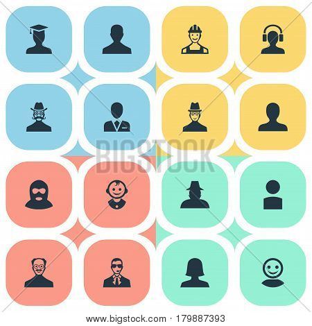 Vector Illustration Set Of Simple Avatar Icons. Elements Male With Headphone, Insider, Workman And Other Synonyms Bodyguard, Culprit And Worker.