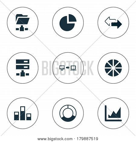 Vector Illustration Set Of Simple Data Icons. Elements Digital Documnet, Hosting, Circular Diagram And Other Synonyms Folder, Directions And Sending.