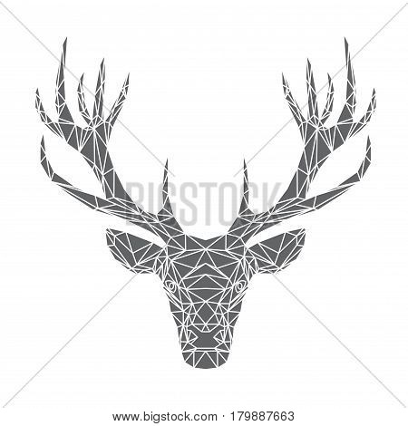 Deer's head, geometric grey and white polygonal design, vector illustration