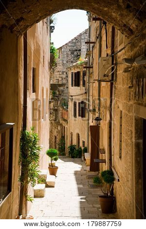 Old town of Korcula, Croatia. Traveling, vacation, tourism concept.