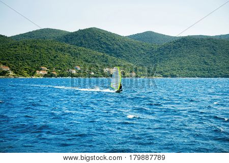 Beautiful seascape, Hvar and Split Channel. Traveling, yachting, vacation concept.