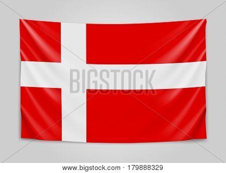 Hanging flag of Denmark. Kingdom of Denmark. National flag concept. Vector illustration.