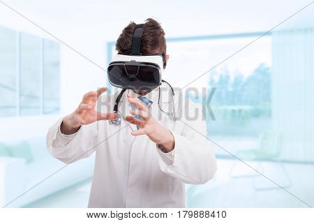 Medical Doctor Using Virtual Reality Headset