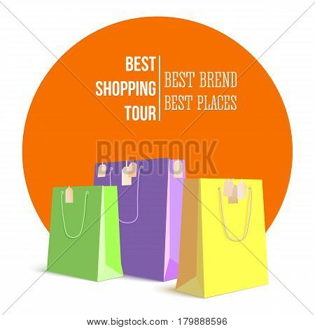 Best shopping tour, advertising banner with paper bags and label from new purchased items on bright orange backdrop. Template, mock-up with yellow, green and violet paper bags for shopping.