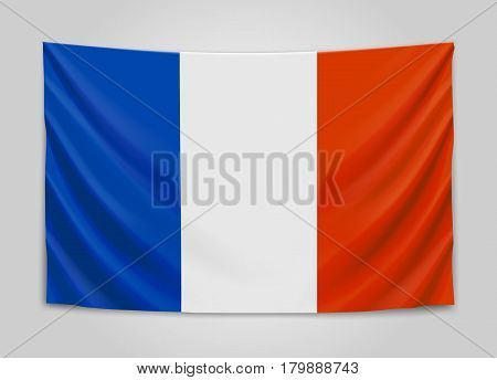 Hanging flag of France. French Republic. French national flag concept. Vector illustration.