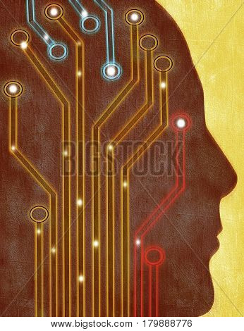 human head silhouette with circuit board digital illustration