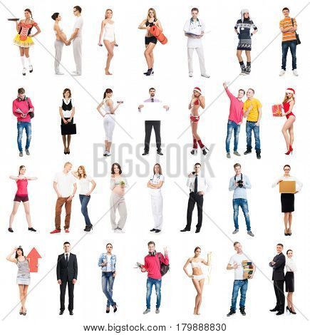 Group of many different people. Collection set  isolated on white background. Different occupation concept.