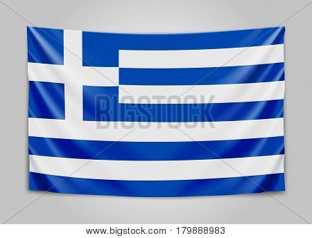 Hanging flag of Greece. Hellenic Republic. Greek national flag concept. Vector illustration.
