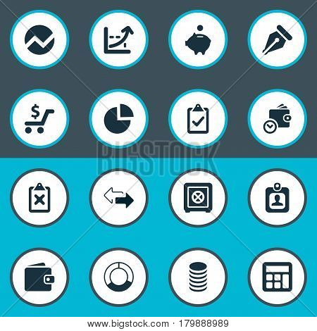 Vector Illustration Set Of Simple Finance Icons. Elements Segmentation, Nib, Two Directions And Other Synonyms Separation, Human And Billfold.