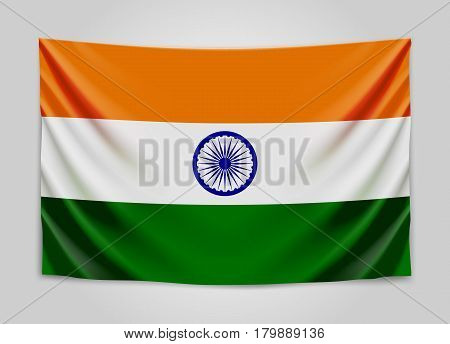 Hanging flag of India. Republic of India. National flag concept. Vector illustration.