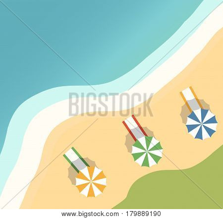 Vector a banner with an  landscape beach.op view of the island paradise.The tropical beach on the seashore for rest.Maritime hotel.beach towel