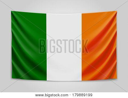 Hanging flag of Ireland. Ireland. National flag concept. Vector illustration