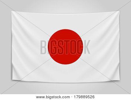 Hanging flag of Japan. Japan. Japanese national flag concept. Vector illustration.
