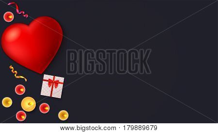 Romantic background, big red heart, burning candles, gift box with red bow and ribbon, colored serpentine, close-up on dark background. Template for greeting cards, invention or greetings