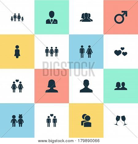 Vector Illustration Set Of Simple Couple Icons. Elements Lineage, Friends, Male And Other Synonyms Emotion, Mother And Wineglass.