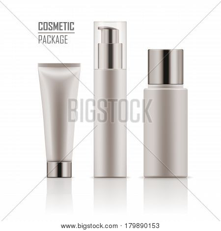 Set of blank template of white plastic packages: tube with hand cream, container for liquid lotion, bottle with dispenser pump. Vector collection of empty realistic mockup for cosmetic products.