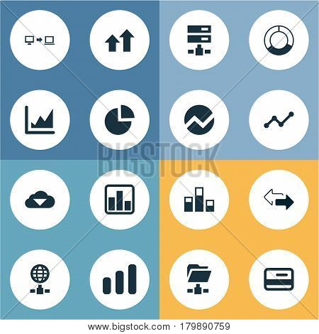 Vector Illustration Set Of Simple Analysis Icons. Elements Economy, Hosting, Data And Other Synonyms Arrows Up, Chart And Increase.