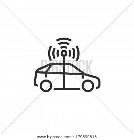 autonomous car line icon outline vector logo illustration linear pictogram isolated on white