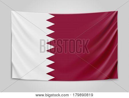 Hanging flag of Qatar. State of Qatar. National flag concept. Vector illustration.