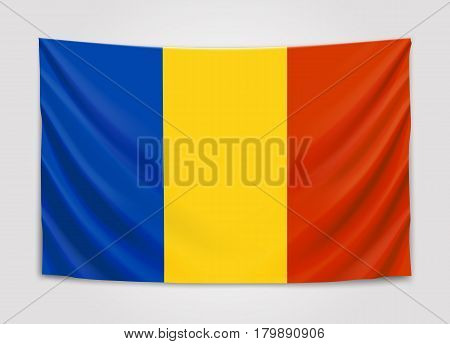Hanging flag of Romania. Romania. National flag concept. Vector illustration