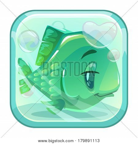 Cartoon green fish behind the glass. App icon for web or game design. Vector illustration.