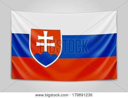 Hanging flag of Slovakia. Slovak Republic. National flag concept. Vector illustration.