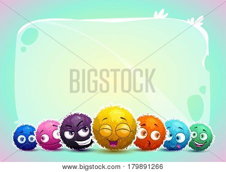 Cute childish banner with funny colorful shaggy round characters. Vector illustration for kids.