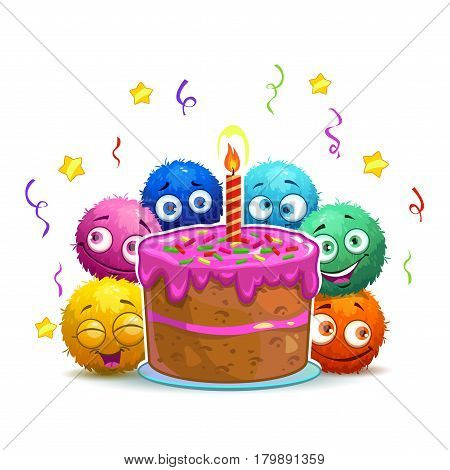 Funny cartoon childish Birthday card with cute round colorful fluffy characters and big cake.