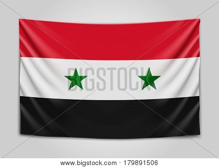 Hanging flag of Syria. Syrian Arab Republic. National flag concept. Vector illustration.