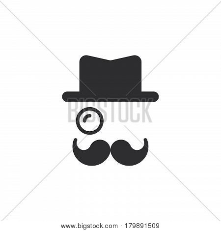 Monocle Mustaches Hat icon vector solid logo illustration pictogram isolated on white