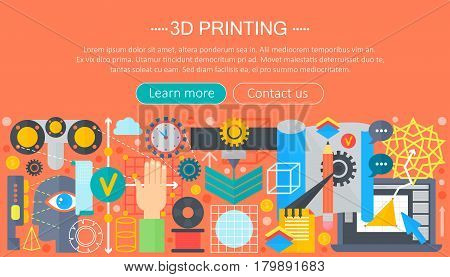 3d printer technology flat concept set. 3d modeling, printing and scanning web header