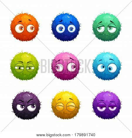 Funny cartoon colorful shaggy balls with eyes. Cute fluffy round characters set.