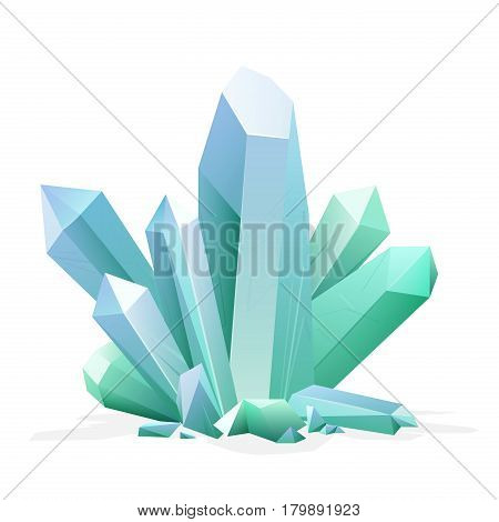 Magic crystal. Amethyst, topaz, blue quartz, ruby green gemstone Game treasure element