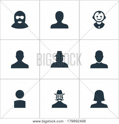 Vector Illustration Set Of Simple Avatar Icons. Elements Male User, Moustache Man, Felon And Other Synonyms Personal, Insider And Profile.