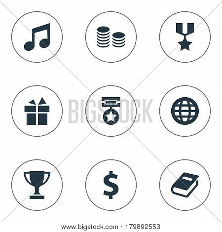 Vector Illustration Set Of Simple Prize Icons. Elements Honor, Trophy, Money And Other Synonyms Achieve, Greenback And Award.