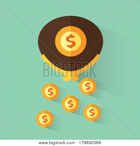 Wallet with dollars. Loss of money. Vector illustration in flat design