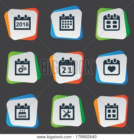 Vector Illustration Set Of Simple Date Icons. Elements Agenda, Special Day, 2016 Calendar And Other Synonyms Special, Calendar And Gear.