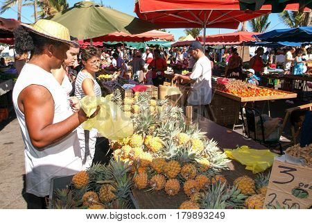 The Market Of Saint Paul On La Reunion Island, France