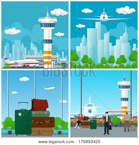 Arrivals at Airport Waiting Room with People View on Airplane through the Window and Luggage Bags for Traveling Plane in the Sky Travel and Tourism Concept Vector Illustration