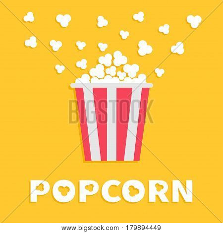 Popcorn popping. Red yellow strip box package. Fast food. Cinema movie night icon in flat design style. Yellow background with white text. Vector illustration