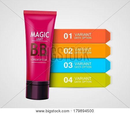 Beauty cosmetics infographic visualization template. Cream Ingredients. Vector illustration