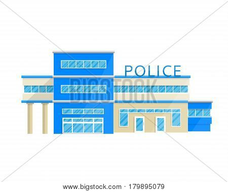 Police station department building in the Flat style isolated on white background Vector Illustration. Service tracking the rule of law, justice, the fight against crime.