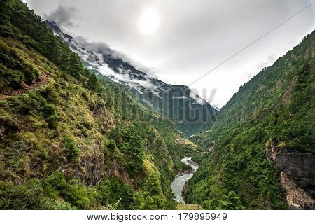 Green Valley On Manaslu Circuit In Himalaya Mountains, Nepal