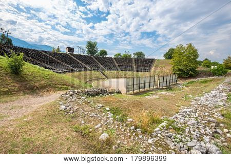 View of Hellenistic Theater at the Archaeological Park of Dion. Pieria Macedonia Greece