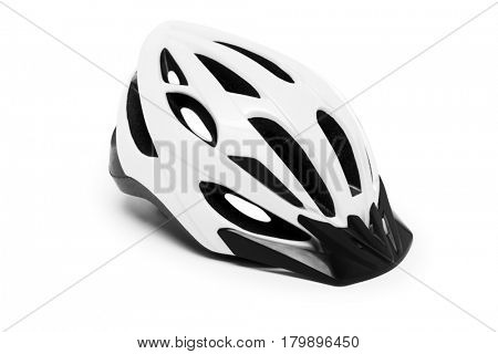 white bicycle helmet isolated on a white background