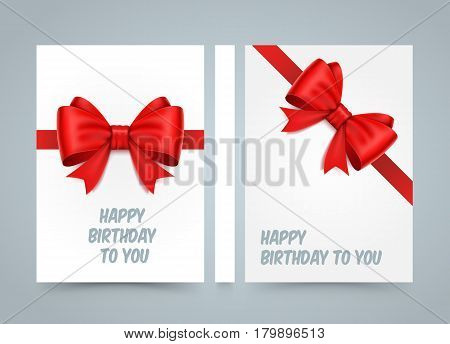 Happy birthday to you. Bow on white paper. banner road book. A4 size paper, Template design element, Vector