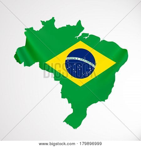 Hanging Brazil flag in form of map. Federative Republic of Brazil. Brazilian national flag concept. Vector illustration.