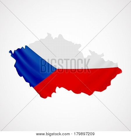 Hanging Czech flag in form of map. Czech Republic. National flag concept. Vector illustration.